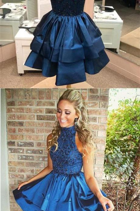 Fishtail Navy Homecoming Dresses Sheer Back Sleeveless Tiered High-neck Short Homecoming Dress