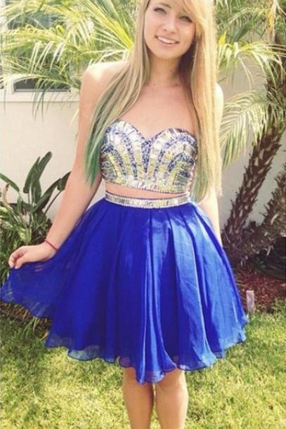 A-Line/Princess Royal Blue Homecoming Dresses Zippers Sleeveless Crystal Detailing Sweetheart Neckline Mini Homecoming Dress