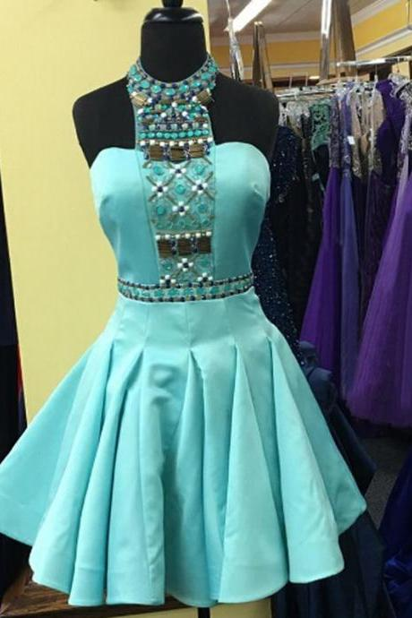 A Line Mint Homecoming Dresses Zipper-Up Sleeveless Crystal Floral Pin High necked Above Knee Homecoming Dress