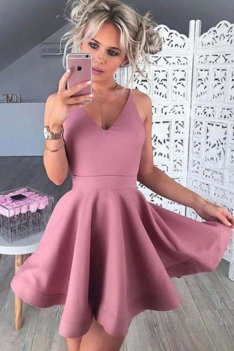 Aline Blush Homecoming Dresses Zipper-Up Sleeveless Goffer V Neck Mini Homecoming Dress