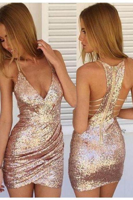 Column Pink Homecoming Dresses Zippers Sleeveless Sequins V-Neck Scoop Above-Knee Homecoming Dress