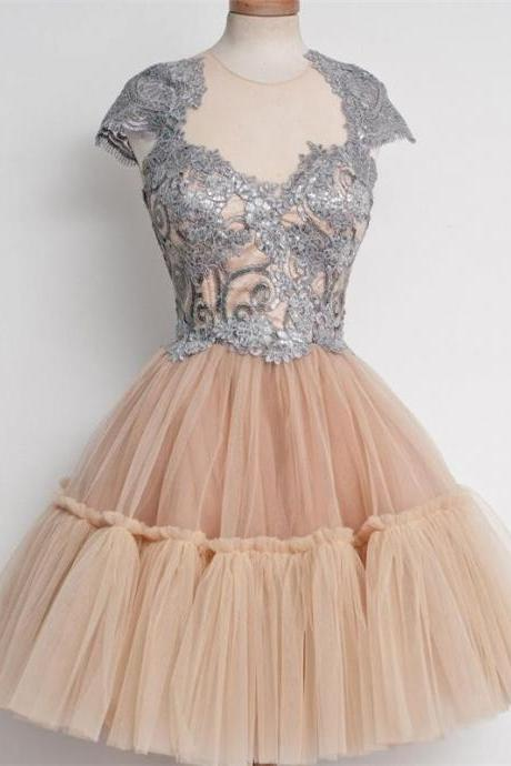A-Line/Column Champagne Homecoming Dresses Zippers Cap Sleeve Embroidered Illusion Knee-length Homecoming Dress