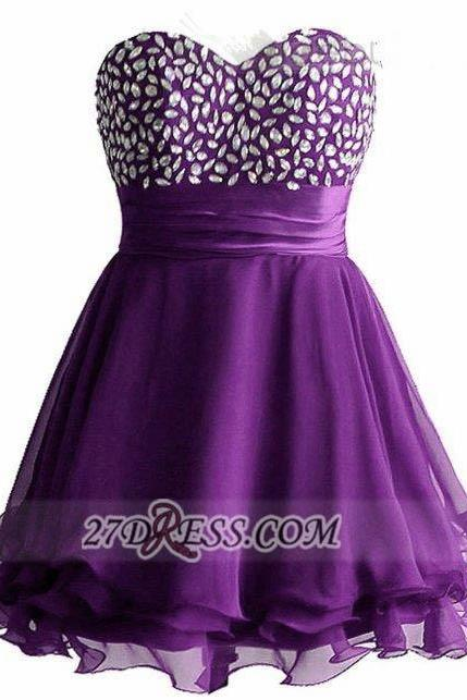 Aline Purple Homecoming Dresses Lace-Up Sleeveless Crystal Floral Pin Sweetheart Neckline Above Knee Homecoming Dress