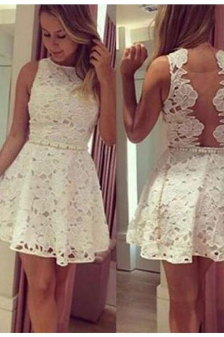 A Line White Homecoming Dresses Zippers Sleeveless Pearl Detailing Bateau Above Knee Homecoming Dress