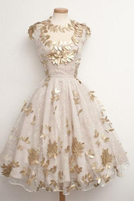 Ball-Gown Golden Homecoming Dresses Zipper-Up Sleeveless Pattern Jewels Tea-length Homecoming Dress
