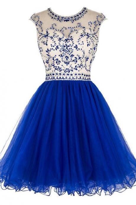 Aline Blue Homecoming Dresses Hollow Sleeveless Beaded Illusion Above Knee Homecoming Dress
