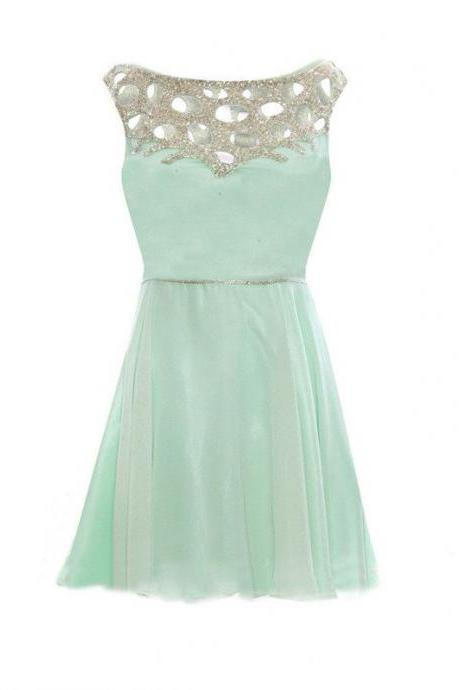 Aline Sage Homecoming Dresses Zippers Sleeveless Embroidered Bateau Above-Knee Homecoming Dress