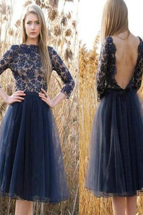 A lines Dark Blue Homecoming Dresses Open Back Long Sleeves Tulle Bateau Mini Homecoming Dress