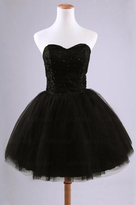 Aline Black Homecoming Dresses Lace-Up Sleeveless Tulle Sweetheart Neckline Short Homecoming Dress