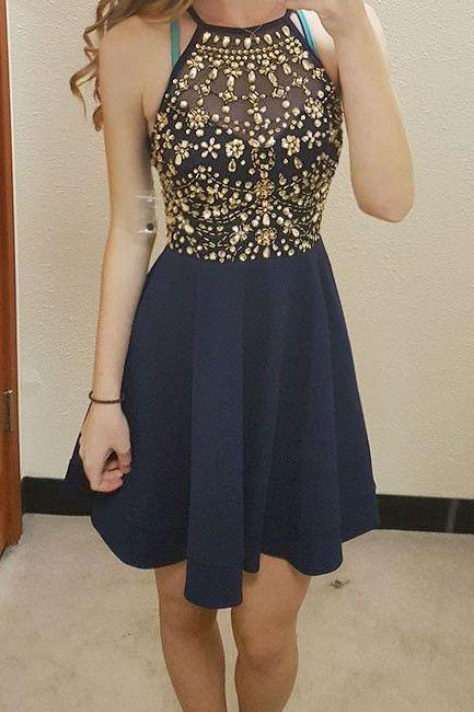 A Line Dark Blue Homecoming Dresses Sheer Back Sleeveless Crystal Beads Ruffle O-neck Above-Knee Homecoming Dress