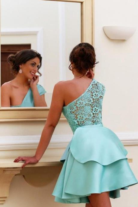A-Line/Column Sky Blue Homecoming Dresses Side-Zipper Sleeveless Lace One shoulder Above-Knee Homecoming Dress
