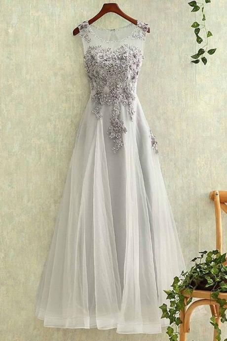 Elegant Prom Dress,Long Prom Dress, Appliques Prom Dresses,Elegant Tulle Homecoming Dress Prom Dress on Luulla