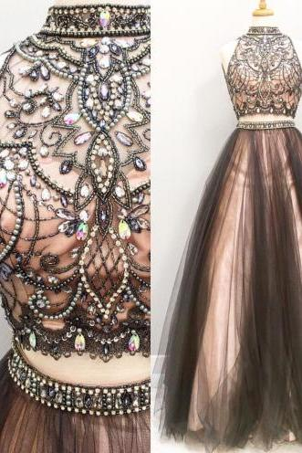 Gorgeous Two Piece Chocolate Long Tulle Prom Dress on Storenvy
