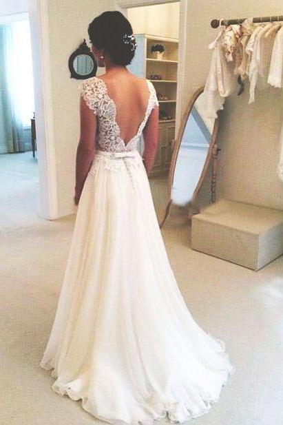 A-line Round Neckline Chiffon Lace Long Wedding Dresses, Wedding Gown, Open Back Wedding Dress, Lace on Luulla