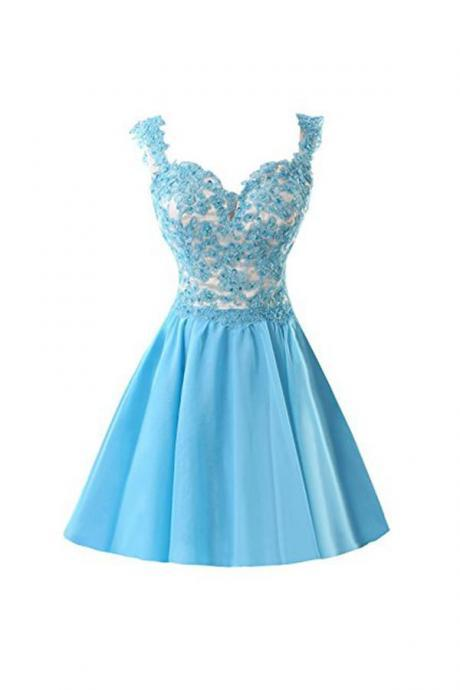 Chiffon Applique Homecoming Dresses Short Prom Dresses With Straps