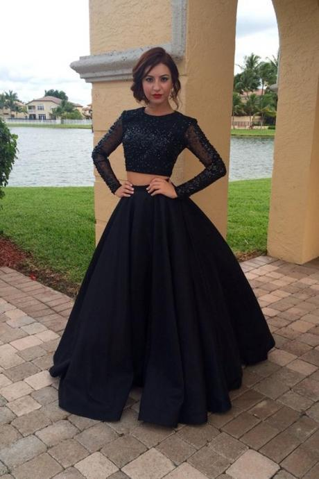 Long Sleeves Black Two Pieces Prom Dresses For Teens,Modest Prom Gowns,Charming Evening Dresses,Wome on Luulla