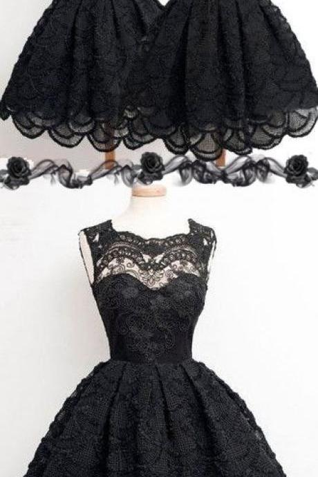 Vintage Black Lace Homecoming Dress, Short Sleevelessprom Prom Dresses, Sexy Hollow Back Prom Dresse on Luulla