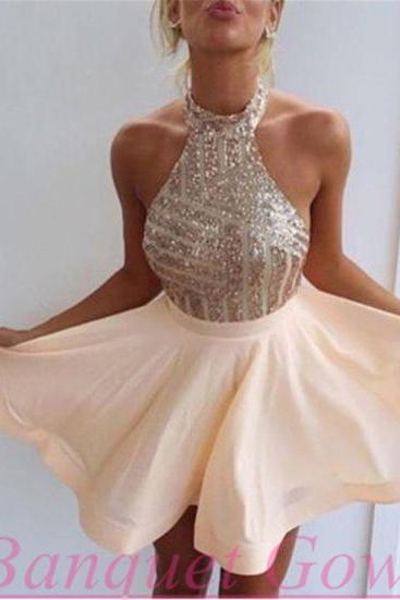 Cute Homecoming Dresses,High Neck Prom Dress,Short Prom Dress,Sequin Homecoming Dress,Sexy Homecoming Dress,2016 Prom Gowns on Storenvy