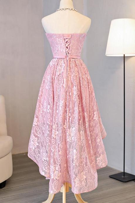 Pink Sleeveless Homecoming Dress,Simple High Low Halter Prom Dress With Bow,New Arrival2017