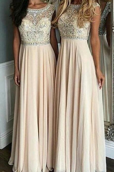 A-Line Bateau Floor-Length Cap Sleeves Champagne Chiffon Prom Dress with Beading