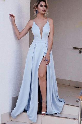 HIGH QUALITY DEEP V NECK LIGHT BLUE LONG CHEAP PROM DRESS PARTY GOWNS