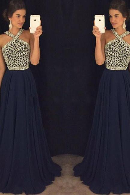 dark blue beaded long prom dress for teens, dark blue formal dress
