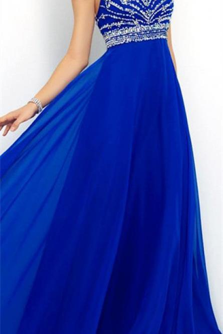 Royal Blue Prom Dresses,Elegant Evening Dresses,Long Formal Gowns,Beaded Party Dresses,Chiffon Pagea on Luulla