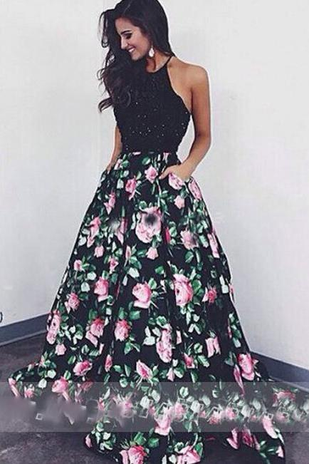 Elegant Laura Mara Same Style Prom Dress, Black Ball Gown Beaded With Rose Print,Black A-line Evenin on Luulla