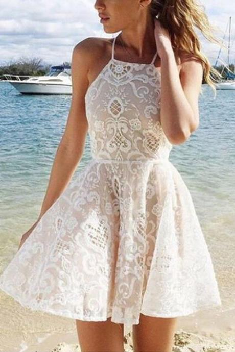 A-line Halter Short White Criss-Cross Straps Lace Homecoming Dress With Pleats on Luulla
