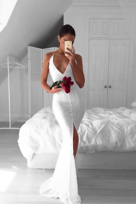 2017 Backless Front-Split Lace White Sleeveless V-neck Mermaid Modest Prom Dress on Storenvy