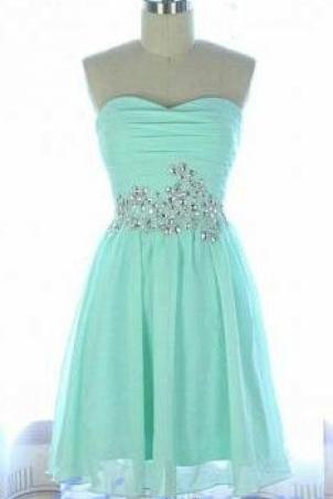 Mint Green Homecoming Dress,Chiffon Homecoming Dresses,Cheap Homecoming Gowns,Strapless Prom Dress,S on Luulla
