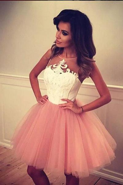 Cute A-line Short Blush Pink Prom Dress Homecoming Dress with White Top on Storenvy