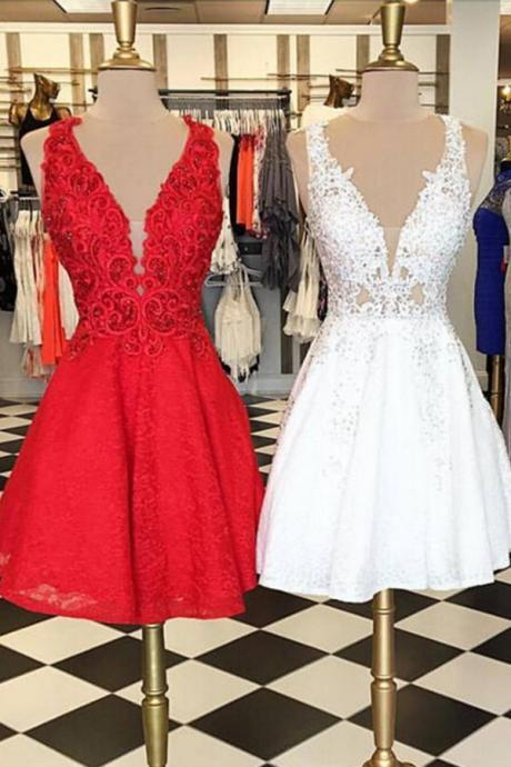 Elegant V-neck Mini Short Prom Dress Party Dress High Quality Sleeveless V-Neck Lace Homecoming Dres on Luulla