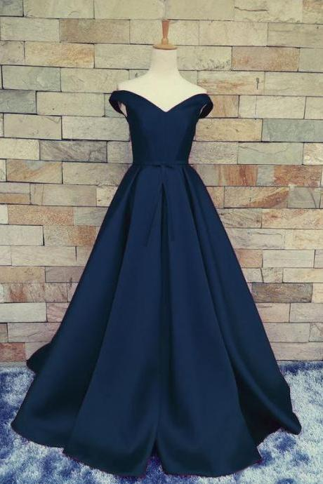 Navy Prom Dress Off the Shoulder Prom Dresses Evening Party Gown Formal Wear on Storenvy