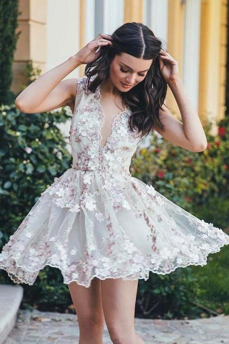 Stylish A-Line V-Neck Sleeveless Short White Homecoming Dress with Appliques on Storenvy