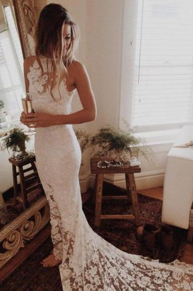 Romantic Boho Beach Wedding Dresses,Lace Mermaid Princess Backless Wedding Gowns on Storenvy