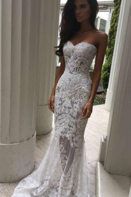 Charming White Lace Wedding Dress,Sexy Sweetheart Bridal Dress,Sexy See Through Wedding Dress on Luulla