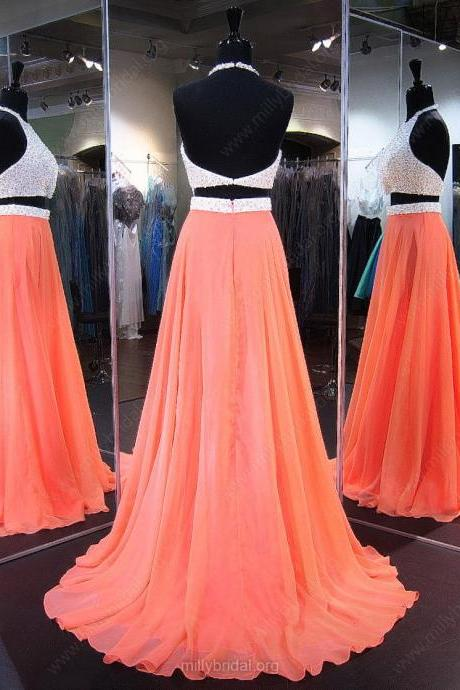A-line Halter Chiffon Sweep Train Crystal Detailing Backless Two Piece Prom Dresses