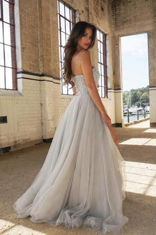 A-Line Spaghetti Straps Sweetheart Tulle Prom Dress,Floor-Length Prom Dresses with Beading