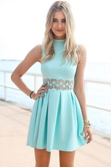 A-Line High Neck Sleeveless Short Homecoming Dress With Pleats on Luulla