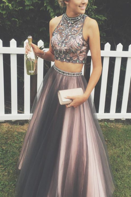 Two Pieces Prom Dresses,A-line Tulle Prom Gowns,Halter Beading Evening Dresses,Beautiful Party Dress on Luulla