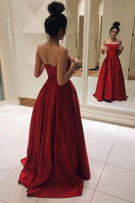 Red Long Prom Dresses, Elegant Red Satin Prom Dress, Ball Gown, Simple Prom Dress, Sweetheart Dress on Luulla