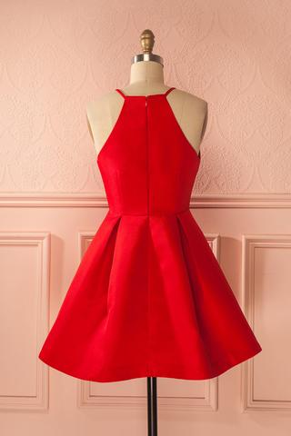 Short Straps Red Prom Dresses,Cheap Homecoming Dress for Girls