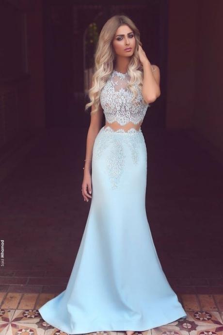 Light Blue Prom Dresses, Satin Prom Dress, White Lace See-through Party Dress, Round Neck Mermaid Pr on Luulla