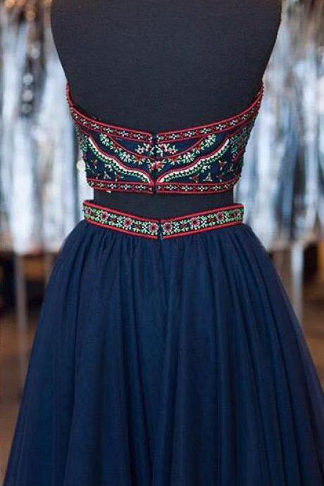 Boho Homecoming Dresses,2 Piece Embroidery Bodice Hoco Dresses,Short Boho Prom Dresses,Navy Two-piec on Luulla