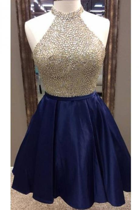 Dark blue satins beading sequins halter A-line short prom dresses