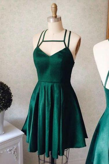 Emerald Green Halter Backless Homecoming Dress,Short Prom Dress,Cute Party Dress,2017 Graduation Dre on Luulla