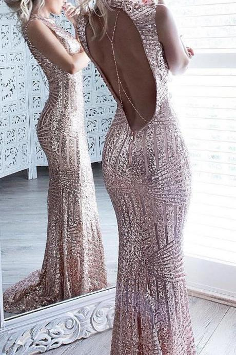 Mermaid Prom Dresses, Sparkle Prom Dress,Beaded Sequins Prom Dresses,Bodice Backless Prom Dress For on Luulla