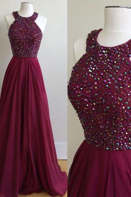 A-Line Halter Sweep Train Burgundy Chiffon Prom Dress with Beading