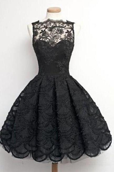 Gorgeous A-Line Bateau Black Ball Gown Tulle Lace Short Homecoming Dress on Luulla